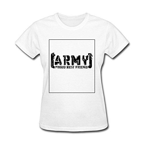 OMMIIY Women's Proud Army Best Friend Tattered Logo T-Shirt White XXL