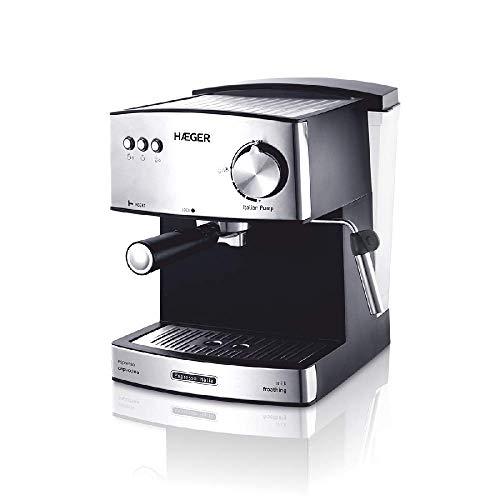 HAEGER Expresso ITÁLIA – Cafetera Espresso con Bomba Italiana de 15 Bar, con 850W de Potencia, Capacidad de 1,6L…