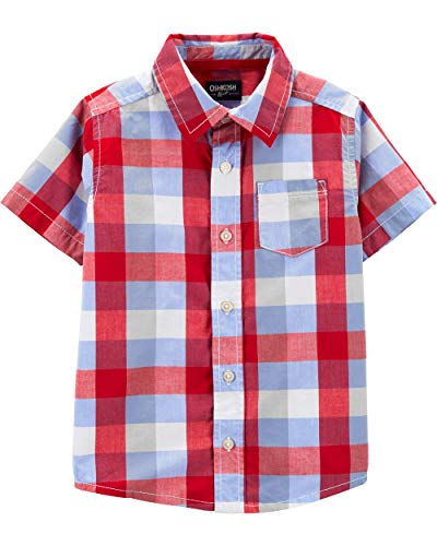 Osh Kosh Boys' Toddler Short-Sleeve Woven Top, Red Blue Plaid, 5T
