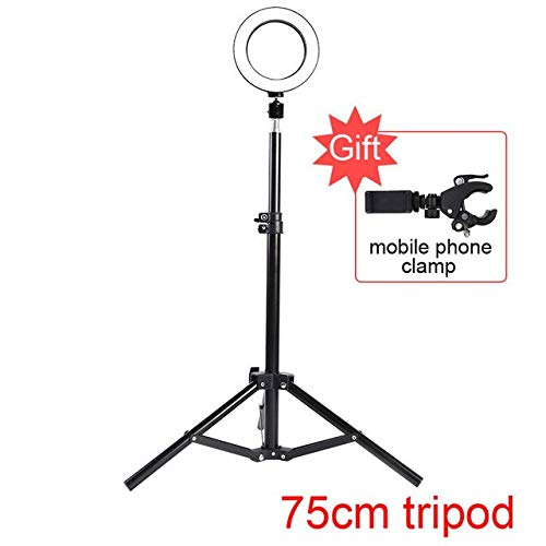BEESCLOVER Photo Studio LED Ring Light 6'' 16cm 3200-5600K 64 LEDs Selfie Ring Lamp Photographic Lighting with Tripod Moblie Phone Clamp Red China One Size by BEESCLOVER