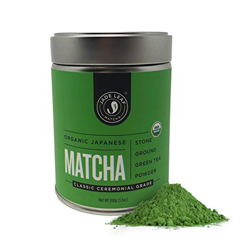 Jade Leaf Matcha Green Tea Powder - USDA Organic - Ceremonial Grade (For Sipping as Tea) - Authentic Japanese Origin - Antioxidants, Energy [100g Value (Best Matcha Powders)