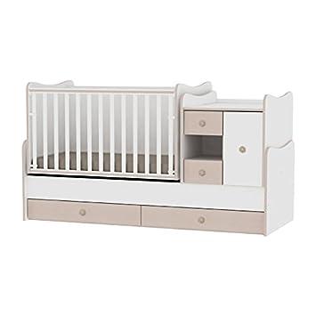Lit bébé évolutif combiné minimax 3en1 lorelli blanc chêne le lit bébé se