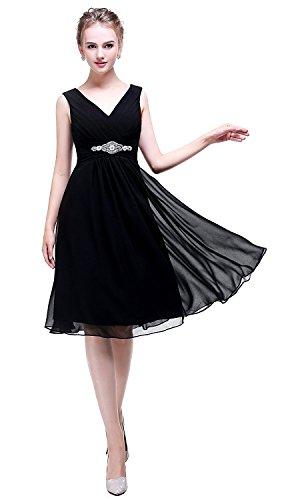 trapecio Sin Aiyana para Vestido negro mangas mujer aHxnfW