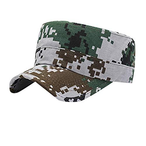 Military Tweed Hat - hositor Hats for Men, Washed Cotton Military Caps Cadet Caps Unique Design Vintage Flat Top Cap Green