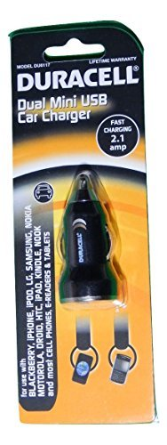 DU6117 Duracell Fast Charging 2.1 Amp Dual Mini USB Car Charger for use with Blackberry, iPhone, iPod, iPad, LG, Samsung, Nokia, Motorola and most cell phones, e-readers and tablets