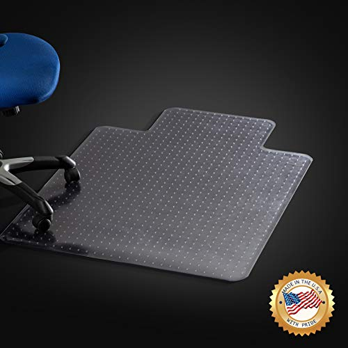 Office Chair Mat for Carpeted Floors, Studded Desk Floor Mat, Clear Heavy Duty for Low and Medium Pile, Beveled Edge with Lip Large 36