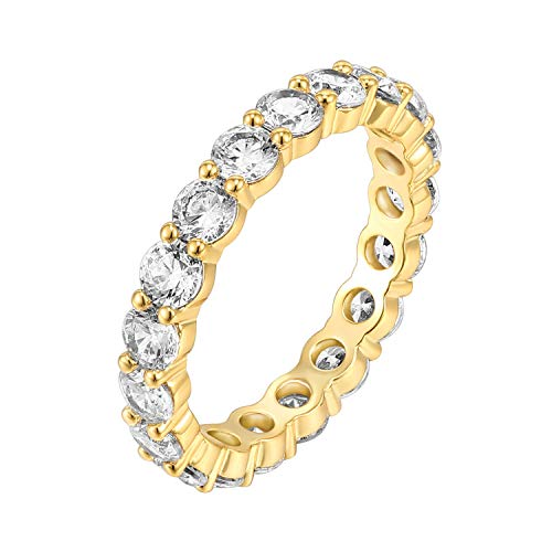 PAVOI 14K Yellow Gold Plated Cubic Zirconia Rings | 3.0mm Eternity Bands | Yellow Gold Rings for Women Size 5