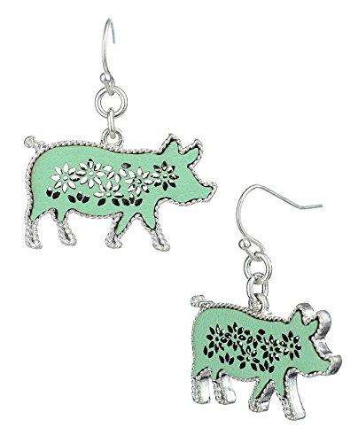 Women's Faux Leather Hollow Filigree Pig Shaped Pierced Dangle Earrings, Mint