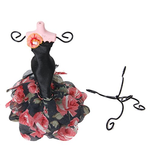 - Mini Gown Lady Mannequin Earring Necklace Jewelry Stand Display Holder Black