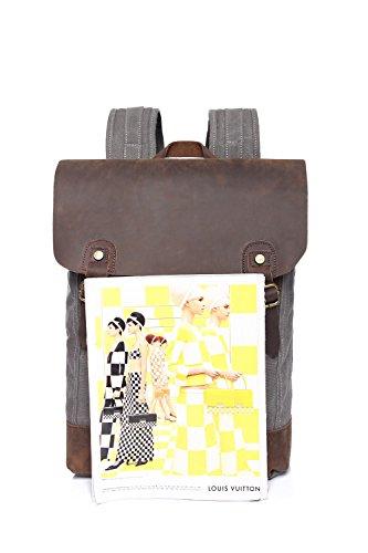 Fashion Taglia Bangxiu Leather Student colore Grigio Outdoor Travel Marrone Leisure Uomo M Canvas Zaino Casual Trekking rOYwxngSqO