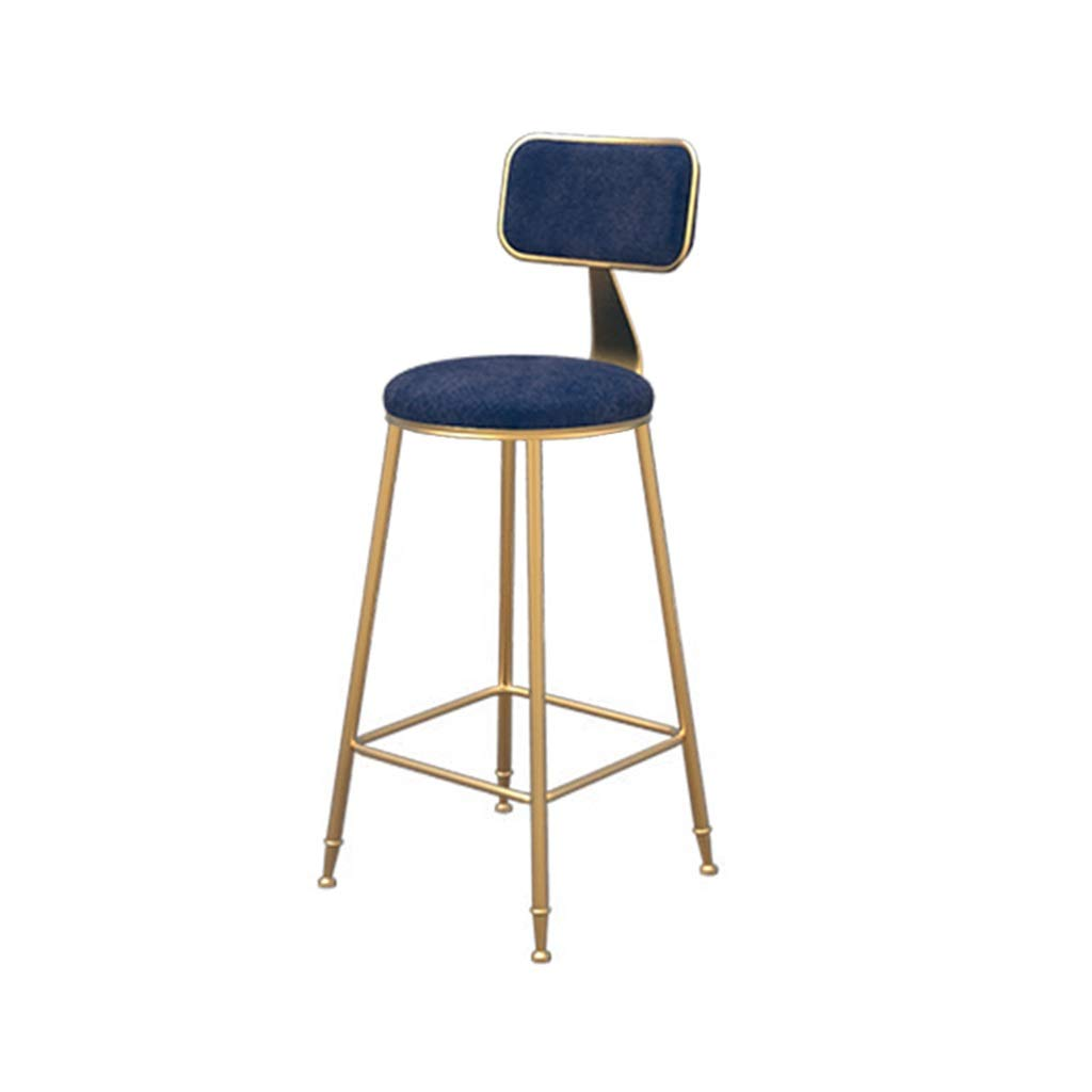 bluee 65cm high Simple bar Chair Flannel Barstool Dining Chair High Stool Leisure Chair (color   White, Size   45cm high)
