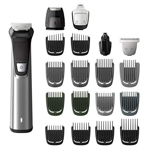 Philips Norelco MG7750/49 Multigroom 7000 Face Styler and Grooming Kit, 23 Trimming Pieces, DualCut Technology, Fully Washable, Reinforced Guards, Rechargeable Battery, Stainless Steel ()