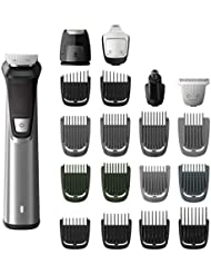 Philips Norelco MG7750/49 Multigroom 7000 Face Styler and Grooming Kit, 23 Trimming Pieces, DualCut Technology, Fully Washable, Reinforced Guards, Rechargeable Battery, Stainless Steel Design