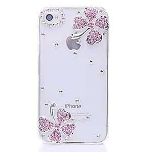 Conseguir Cuatro hojas del trébol patrón de metal de la joyería de nuevo caso para el iPhone 4/4S