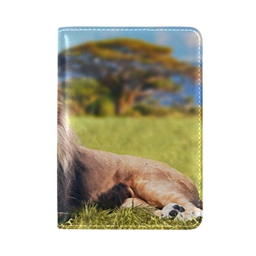 ALAZA Africa Animal Lion Leather Passport Holder Cover Case Travel One Pocket by ALAZA