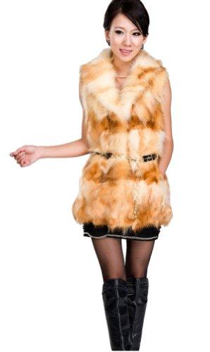 プランタークック毎年QUEENSHINY レディーズ ラクーンファー100% ラクーンファー毛襟 ベスト ロング丈 毛皮 コート