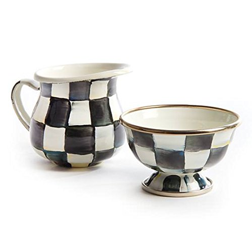Little Pitcher – Stainless Steel Enamel Courtly Check - Black and White ,Little Coffee Creamer -4'' Wide, 3'' Tall, (6oz) by MacKenzie-Childs