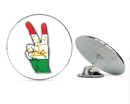 "Tajikistan World Flag Hand Peace Sign Round Metal 0.75"" Lapel Pin Hat Shirt Pin Tie Tack Pinback"