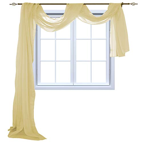 HOLKING Sheer Window Scarf Sheer Voile Curtain for Window Treatment-Add to Window Curtains for Enhanced Effect, Cream Yellow,52 inch Width by 216 inch Length