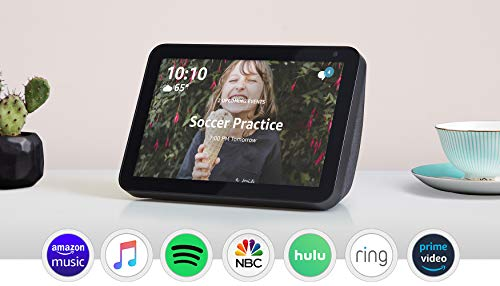 Echo Show 8 Charcoal with Adjustable Stand and TP-Link simple set up smart plug