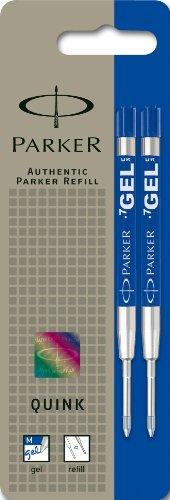 Parker S0881510 Ersatzgelminen Quink (für Kugelschreiber, mittlere Strichbreite, blaue Tinte, 2er-Pack)