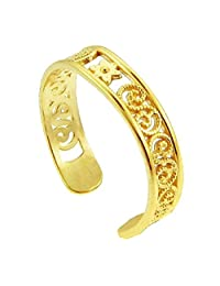 Yellow Gold Floral Toe Ring (10K Gold)