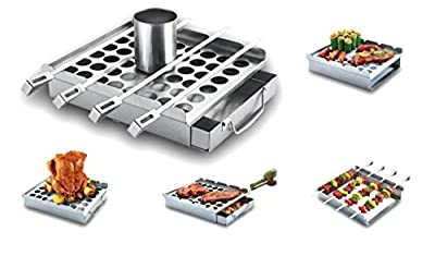 BBQ-Aid - Ultimate 5in1 Grilling Accessory - Easily Make Great Tasting Barbecue - Beer Can Chicken Roaster, Smoker Box, Jalapeno Popper Rack, Flat Skewers Set & Dishwasher Safe