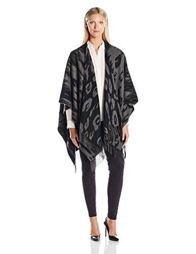 Phenix Cashmere Women's Ocelot Merino Wool Jacquard Ruana, Derby Grey/Black, One Size by Phenix Cashmere