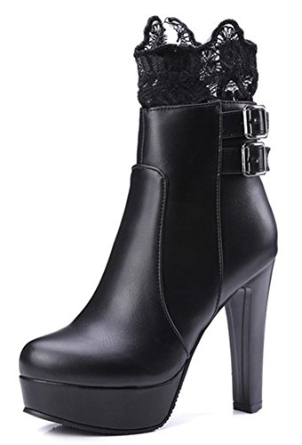 Black Block Ankle Side Platform Zipper Women's Spliced High Elegant Lace Boots Heels IDIFU y4FwScqac
