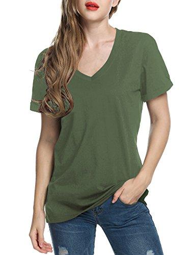 TINYHI Women's V-Neck Batman Crop Fit Shirts Short Blank Sleeve T-Shirts Tops Army -