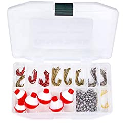 SPECIFICATIONS: 24 Count Red Octopus Hooks: 1/0 x 8 - #2 x 8 - #6 x 8 | 32 Count Bronze Baitholder Hooks: 1/0 x 8 - #2 x 8 - #4 x 8 - #6 x 8 | 20 Count Gunsmoke Circle Hooks: 2/0 x 10 - 1/0 x 10 | 5 Count Gold Wide Gap Hook: #4 x 5 | 60 0 | 6...