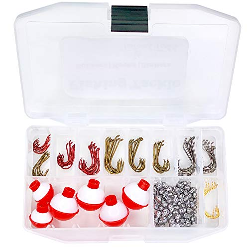 Tailored Tackle Fishing Kit 147 Pc of Gear Tackle Box with Tackle Included | Fishing Hooks & Fishing Bobbers | Starter Fishing Equipment and Accessories for Live Worms & Artificial Bait ()