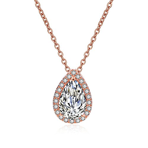 dnswez 18K Rose Gold Plated Teardrop Pear Shape Cubic Zirconia Pendent Necklace 16