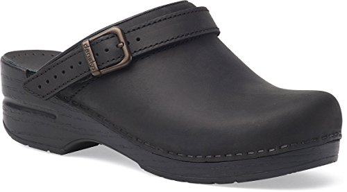 Dansko Women's Ingrid Black Oiled Leather Clogs 39 M by Dansko