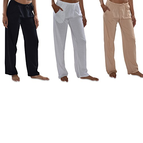 (Sexy Basics Women's 3 Pack Soft Flex-Cotton Knit Pajama Pants/Lounge Pants/Sleep Pants (3 Pack-Black/White/Khaki, XX-Large))