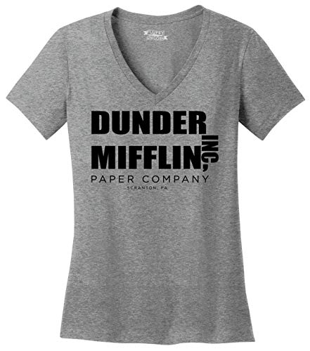 Ladies V-Neck Tee Dunder Mifflin A Paper Company Funny TV Show Shirt Sport Grey M ()