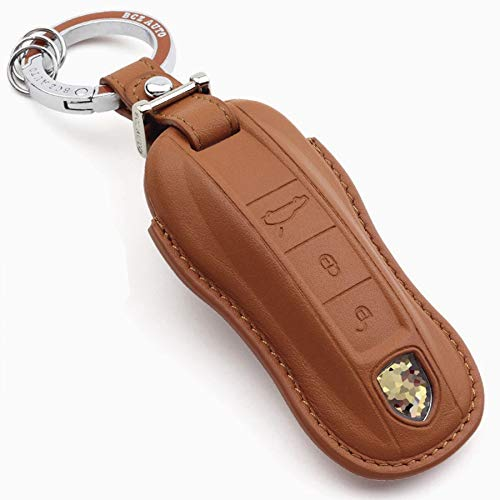 Rockxia Leather Key Fob Cover Holder for Porsche 2017 Panamera 4 4S 2018 2019 Cayenne Key Holder Protective Shell Accessories (A, Brown)