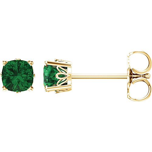 14k Yellow Gold Chatham Created Emerald (Chatham Created Emerald Earrings)