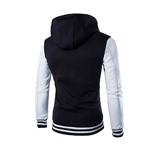 Men Long HARRYSTORE Jacket Hooded Outerwear Retro Hoodie Sweatshirt Hooded Slim Sleeve Button White dqqHx0r