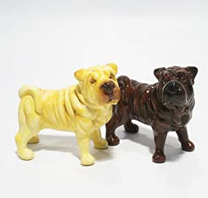 Shar Pei Dog Ceramic Figurine Salt Pepper Shaker 00009 Ceramic Handmade Dog Lover Gift Collectible Home Decor Art and Crafts