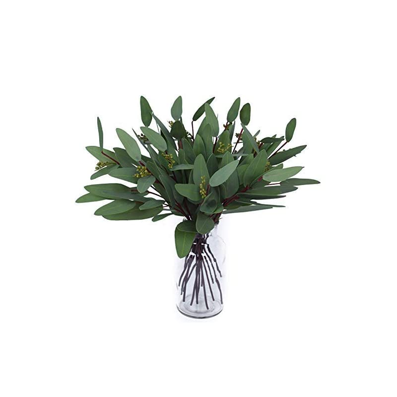 silk flower arrangements woooow artificial eucalyptus long oval leaf stem eucalyptus spray artificial greenery leaves for wedding greenery holiday greens decor(8 pack)