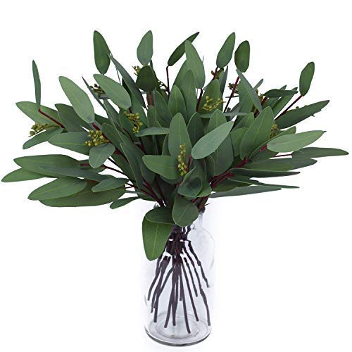 Woooow Artificial Eucalyptus Long Oval Leaf Stem Eucalyptus Spray Artificial Greenery Leaves for Wedding Greenery Holiday Greens Decor(8 Pack) (Stems Greenery Silk)