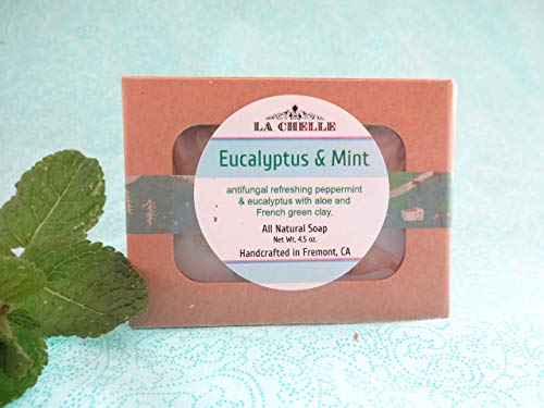 Eucalyptus & Mint Facial Soap, Refreshing All Natural Essential Oil Soap, Cold Process Artisan Handmade Soap in small batch with aloe