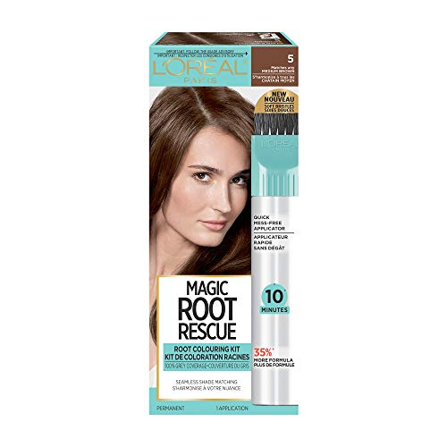 L#039Oreal Paris Magic Root Rescue 10 Minute Root Hair Coloring Kit Permanent Hair Color with Quick Precision Applicator 100% Gray Coverage 5 Medium Brown 1 kit