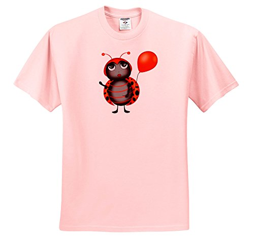 Flirty Light - Anne Marie Baugh - Illustrations - Cute Flirty Orange and Black Lady Bug With A Balloon Illustration - T-Shirts - Light Pink Infant Lap-Shoulder Tee (18M) (TS_267709_71)