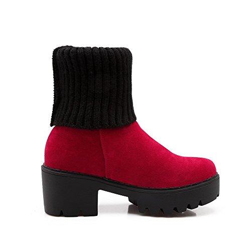 AllhqFashion Mujeres Plataforma Caña Baja Sólido Sin cordones Botas Rojo