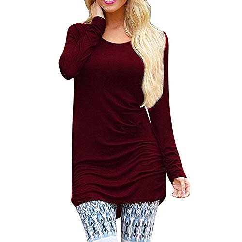 Sherosa Women's Crew Tunic Top T-Shirt Dress with Ruched Sleeves (XL, Wine Red) (Tunic Length Tops To Wear With Leggings)