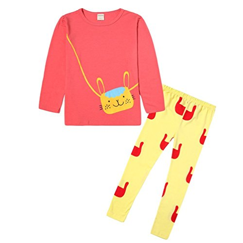 Manches T Animé Motif Pyjama Dessin Décontracté Ensembles shirt Filles Orange Rose Cm Pantalon À Longues 5five 100 XqUzYW