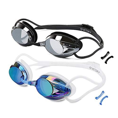 (VETOKY Swim Goggles, Anti Fog Swimming Goggles UV Protection Mirrored & Clear No Leaking Triathlon Equipment for Adult and Children Over 8 Years Old)
