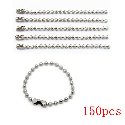 Bonayuanda 150pcs 100mm Long Bead Connector Clasp 2.4 mm Diameter Ball Chains Keychain Tag Key Rings
